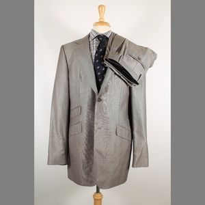 Banana Republic 46L 36x34 Flat Gray Suit B089